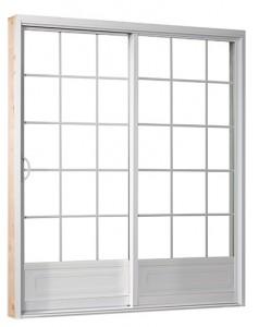 Porte patio blanche avec carrelage