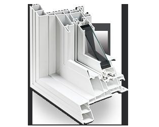 Détail conception multichambre fenêtre coulissante
